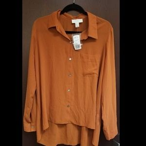 Brand New Burnt Orange Plus Size High to Low Top